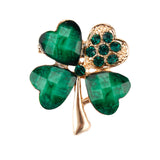Green Crystal Four Leaf Clover Shamrock Brooch