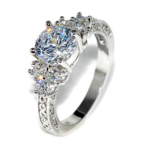 Luxurious White Gold Filled Engagement Ring