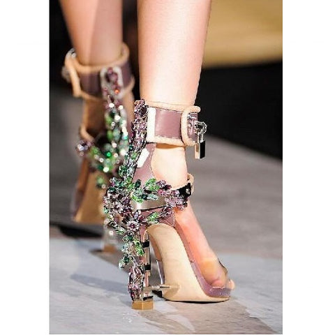 Metal Lock Gladiator Rhinestone High Heels