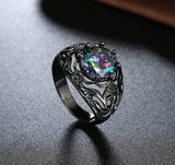 Multi Color Zirconia Black Gold Flower Ring