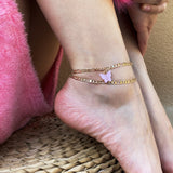 Gold Figaro Chain Butterfly Anklets Bracelet