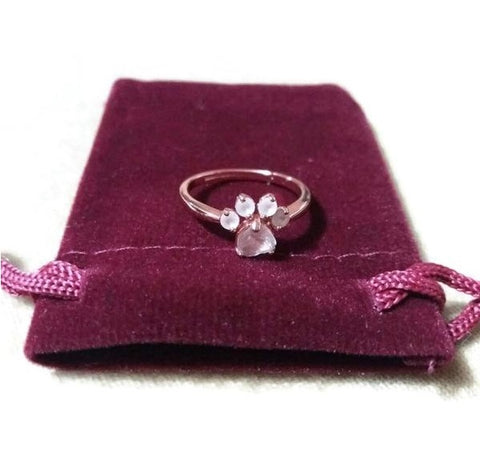 Paw Rose Quartz Resizable Ring