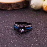 Rainbow Heart Blue Fire Opal Ring