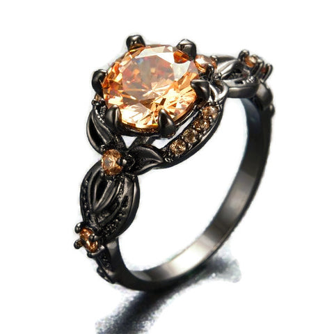 Round Cut Birthstone Black Gold Ring