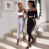 Side Stripe High Waist Pencil Leggings Pants