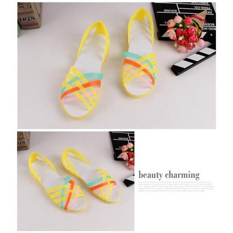 Summer Candy Color Strappy Jelly Sandals