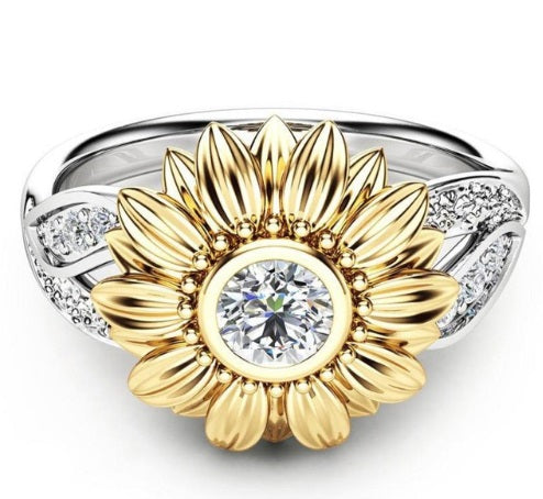 Sunflower Crystal Stone Silver Ring