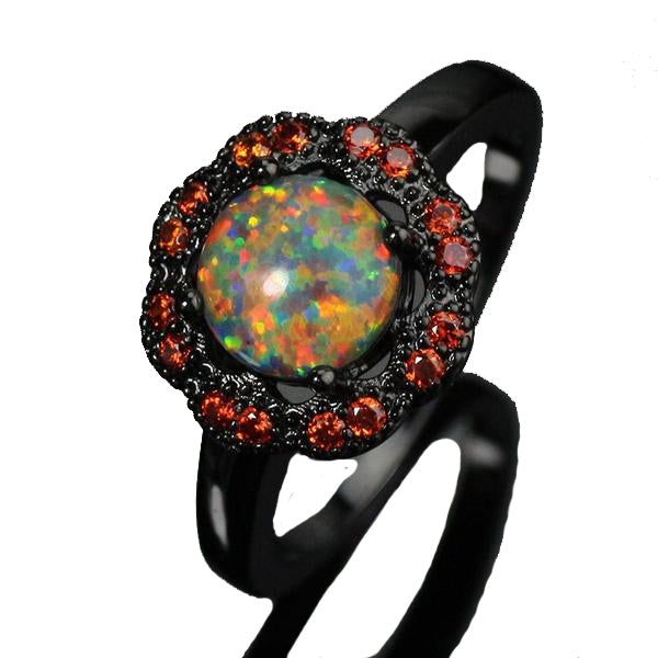 Fire Opal Ring Sunflower Natural Design