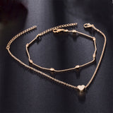 Gold and Silver Heart Chain Anklets