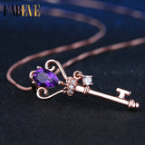 Teardrop Amethyst Crown Key Necklace