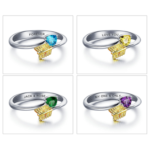 Personalized Birthstones Arrow Heart Ring