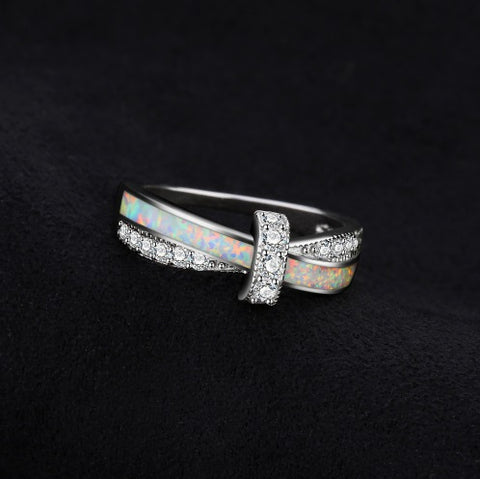 Fashion Opal Crossover Silver Band Ring