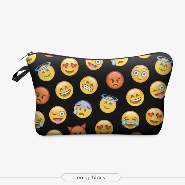 Cute Black Emoji Makeup Bag