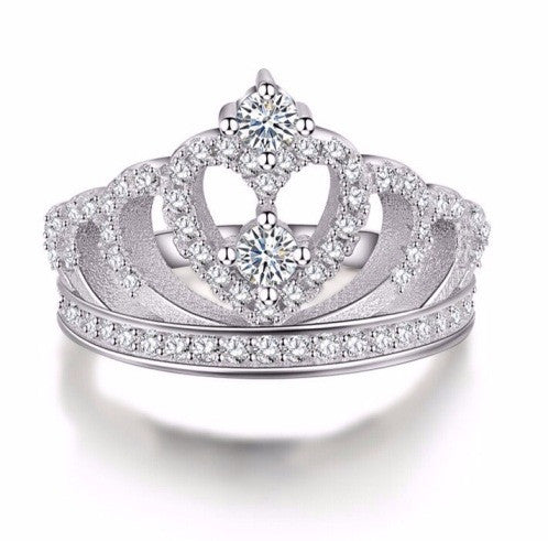 Luxury Sterling Silver Queen Crown Ring