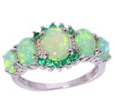 Green and Orange Fire Opal Rings