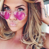 Stylish Reflective Heart Shaped Metal Sunglasses