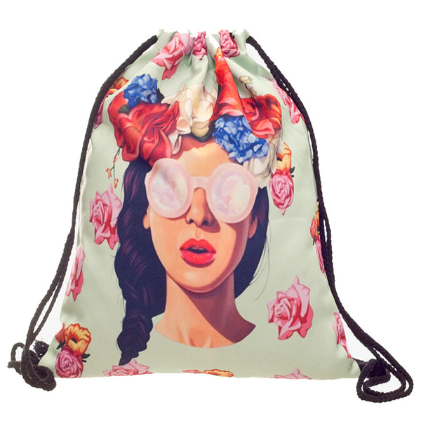 Hipster Girl Drawstring Bag w/ FREE Make-Up Bag