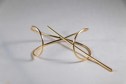 Gold Minimalist Hair Cuff Stick Ponytail Accessories