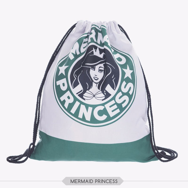 Mermaid Princess Drawstring Bag w/ FREE Make Up Bag