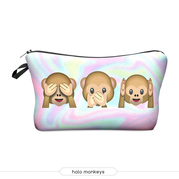 Cute Holo Monkeys Makeup Bag