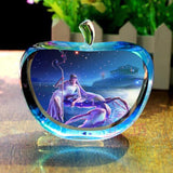 Apple Crystal Zodiac Paperweight Decor