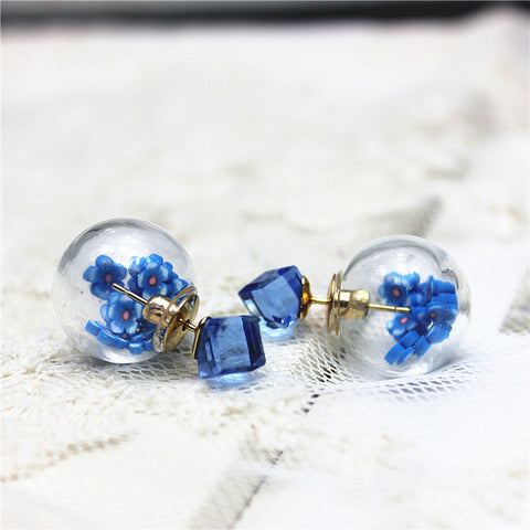 Fruit and Flower Ball Stud Earrings