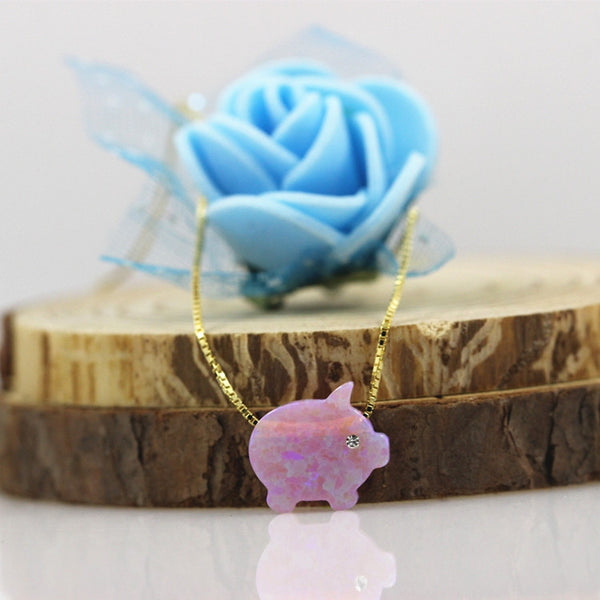 Cute Pink Opal Pig Necklace