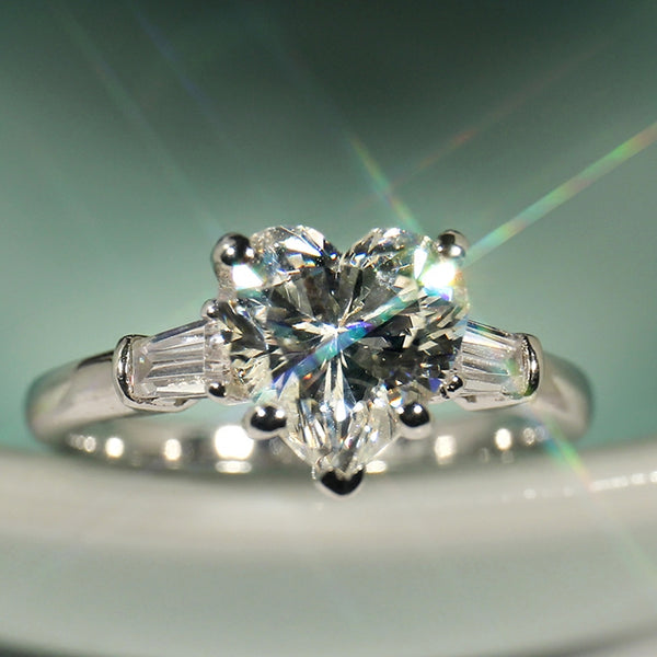 Prong White Topaz Heart Cut  Ring