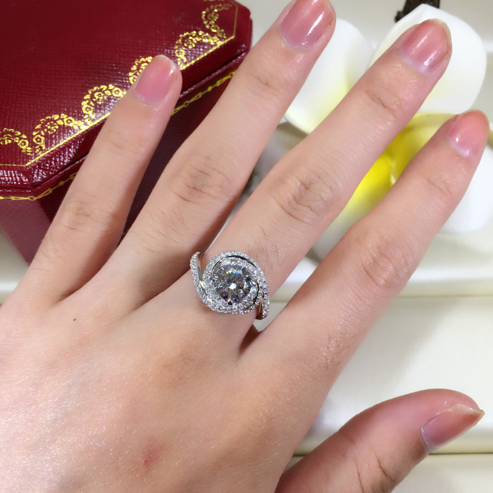 Exquisite 3ct AAAAA Zircon Rose Ring | Couple Fashion Engagement Rings