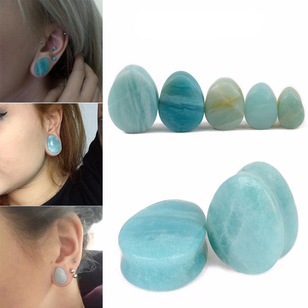 Natural Stone Teardrop Ear Plugs