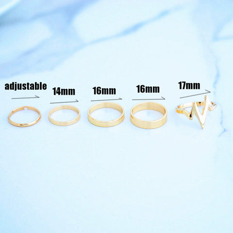Wavy Gold Plated Ring Set