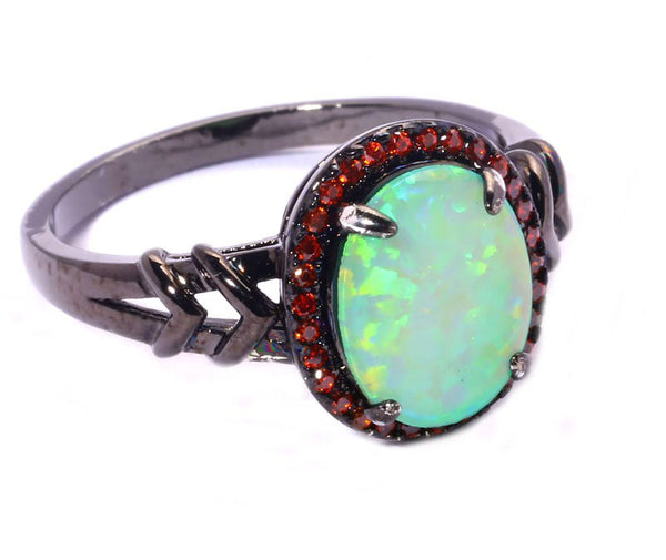Green Fire Opal Orange Garnet Ring