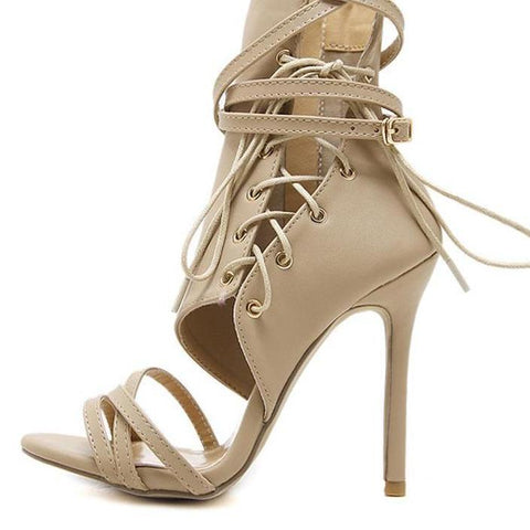 One Side Cross Strappy High Heels Party Sandals