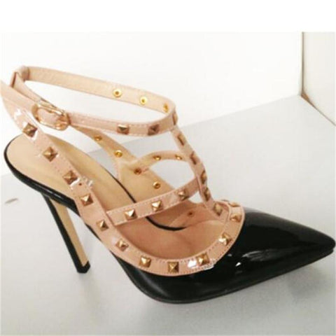 Buckle Studded Stiletto, Valentino Inspired High Heels