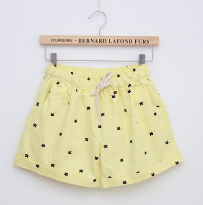 Cats Pattern High Waist Cotton Short