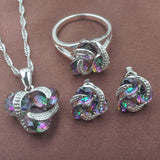 Multicolor Rainbow Zircon Silver Jewelry Sets