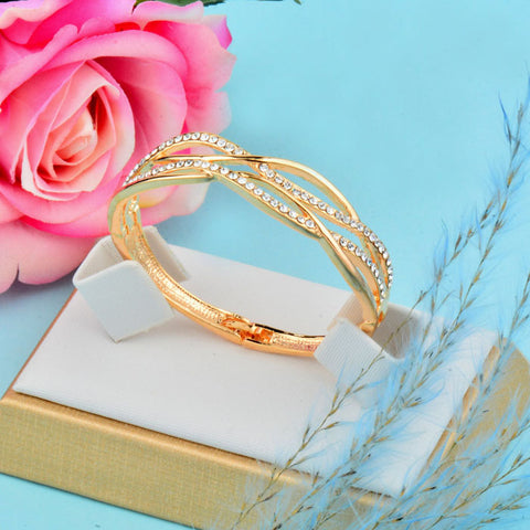 Cubic Zircon Hollow Bangle Bracelets Cuff