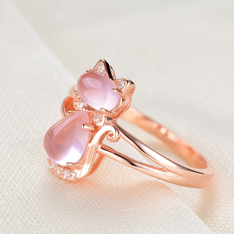 Cute Cat Animal Crystal Opal Rings