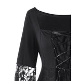 Gothic Square Collar Flare Sleeve Tops