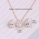 Luxury Crystal Water Drop Cubic Zirconia Jewelry Sets