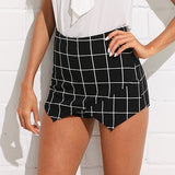 High Waist Plaid Skinny Elegant Shorts