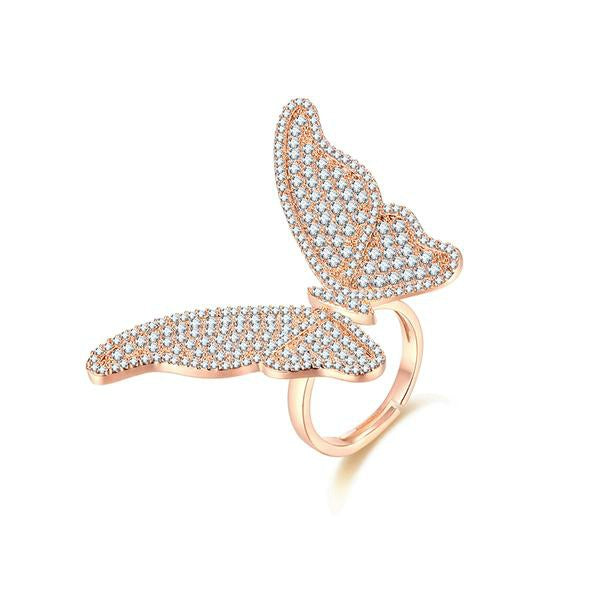 Butterfly Ring Rose Gold Cubic Zirconia