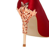 Metal Carved Heels, Silk Pointed Toe