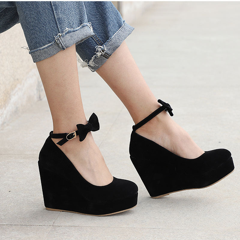 Buckle Bowtie Ankle Strap Wedge Shoes