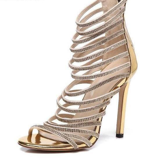 83ecb897cd2 Gold Crystal Thin Strappy Stiletto Gladiator Sandals