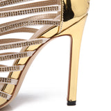 Gold Crystal Thin Strappy Stiletto Gladiator Sandals