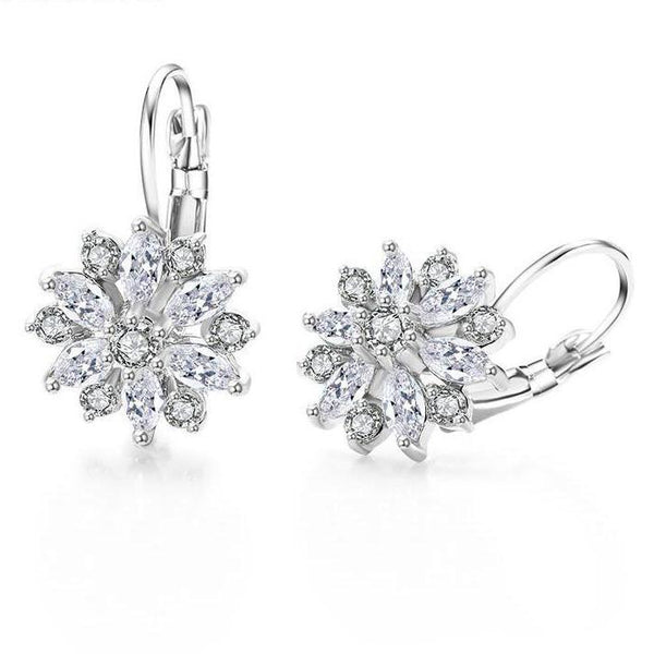 Fashion Hoop Flower Crystal Zirconia Hoop Earrings