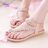 Fashion Flat Sandals With Flowers Bohemian Flat Shoes