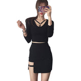 Gothic Iron Ring Hip Empire Dress
