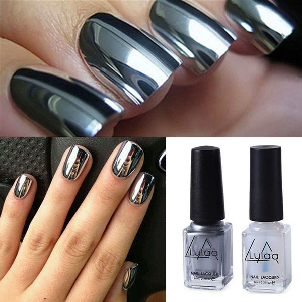 2Pcs Silver Gold Nail Polish Mirror
